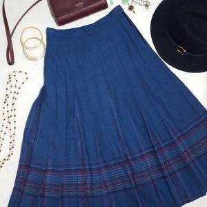 Vintage Skirt High Waisted Pleated Virgin Wool